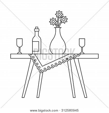 Vector Illustration Of Table And Vase Sign. Collection Of Table And Diner Stock Symbol For Web.