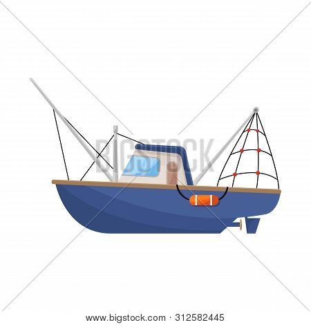 Vector Illustration Of Steamboat And Ship Logo. Set Of Steamboat And Tugboat Stock Symbol For Web.