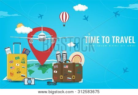 Travel Background With Luggage, Airplane, World Map And Other Equipment. Travel And Tourism Concept.