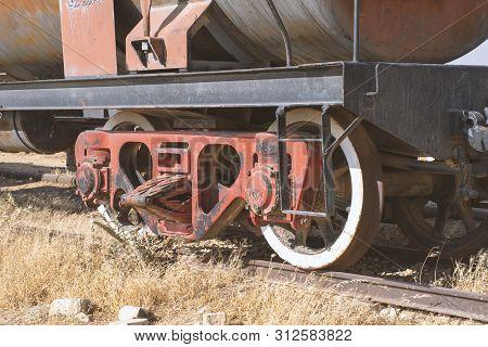 Old Rust Train With Railway In Jordan