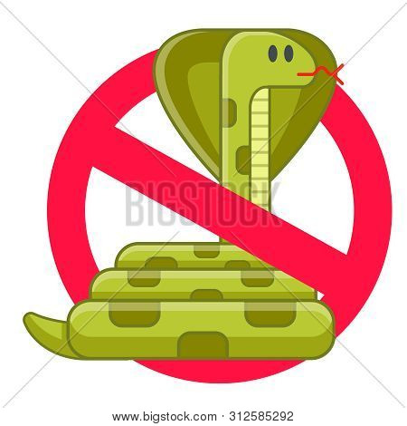 Ban Snakes. Definition Of Toxic Hazard. Antidote To Bites. Flat Isolated Vector Illustration.