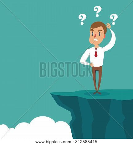 Gap On Way To Success. Businessman Standing In Front Of Abyss. Business Challenge Concept. Vector Il