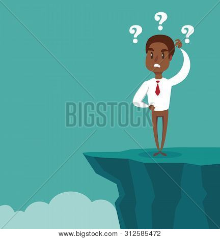 Gap On Way To Success. Black African American Businessman Standing In Front Of Abyss. Business Chall