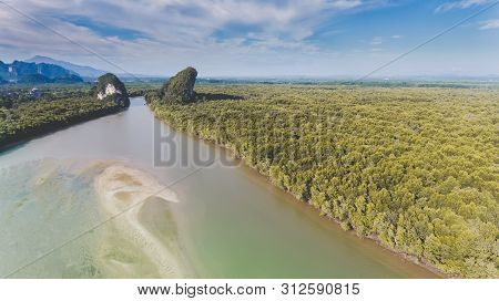 Top View From Sky Of Long River And Mangroves Forrest.