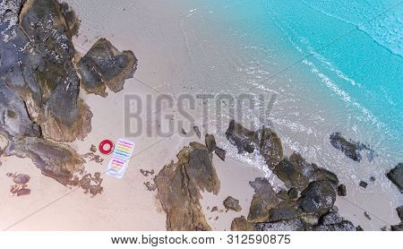 Top View From Sky Of Sea Wave And Sand Beach Landscape.