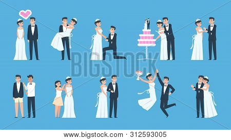 Groom And Bride. Cartoon Wedding Couple In Different Scenes, Preparing And Celebrating. Vector Illus