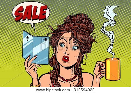 Sale. A Smartphone With A Foldable Flexible Display. Woman Drinking Coffee Or Tea. Comic Cartoon Pop