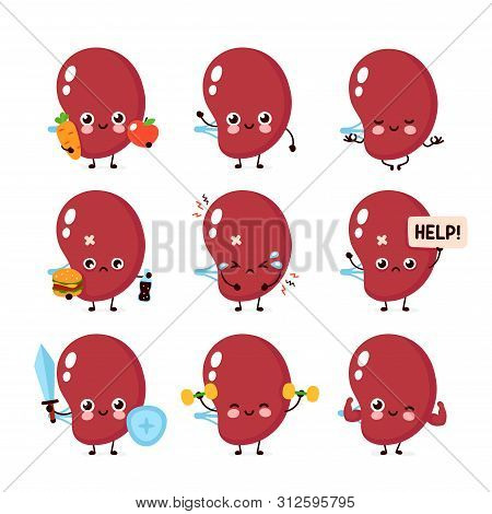 Cute Healthy Happy And Sick Sad Unhealthy Spleen Organ Character Set Collection. Vector Flat Cartoon