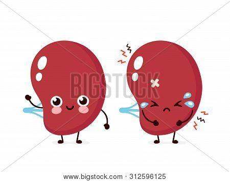 Sad Unhealthy Sick And Happy Smiling Healthy Strong Human Spleen Organ. Vector Modern Style Cartoon