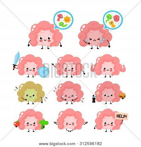 Cute Intestine Set. Healthy And Unhealthy Human Organ. Vector Modern Style Cartoon Character Illustr