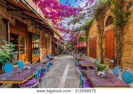 Byblos ,Lebanon- May 4 ,2017 : restaurants of Old Souk Byblos Jbeil in Lebanon Middle east