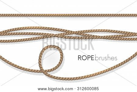 Realistic Fiber Ropes.rope Brushes .jute Twisted Cords With Loops Isolated On White Background. Deco