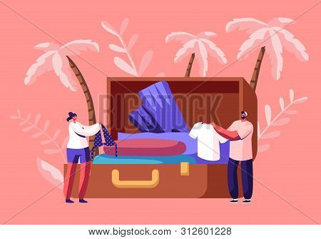 Tiny Characters Take Out Traveling Clothes And Accessories From Huge Suitcase After Vacation Trip, S