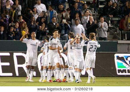 CARSON, CA. - APRIL 2: The Los Angeles Galaxy after a goal late in the 1st half of the MLS game between the Philadelphia Union & the Los Angeles Galaxy on April 2 2011 at the Home Depot Center in Carson, CA.