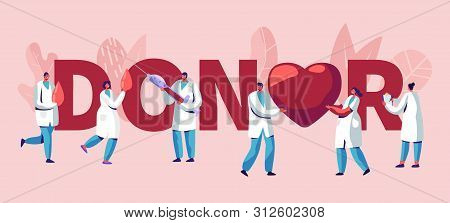 Donor Concept. Male, Female Doctors Characters In Medical Uniform. Blood Donation Laboratory, Health