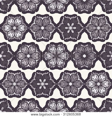 Hand Drawn Abstract Christmas Flower Pattern. Stylized Poinsettia Floral. Black White Background. Wi