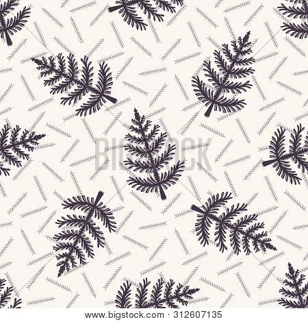 Hand Drawn Stylized Christmas Tree Pattern. Geometric Abstract Fir Forest. Black White Background. C