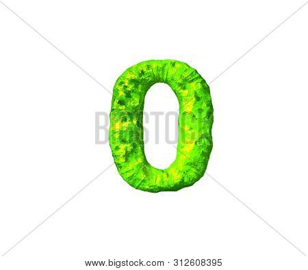 Number 0 In Monstrous Style Isolated On White Background - Lime Alien Flesh Alphabet, 3d Illustratio