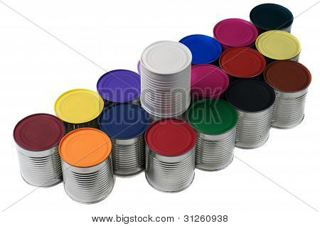 Painted Colorful Cans.