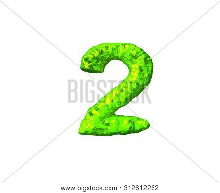 Lime Slime Alphabet - Number 2 In Monstrous Style Isolated On White Background, 3d Illustration Of S