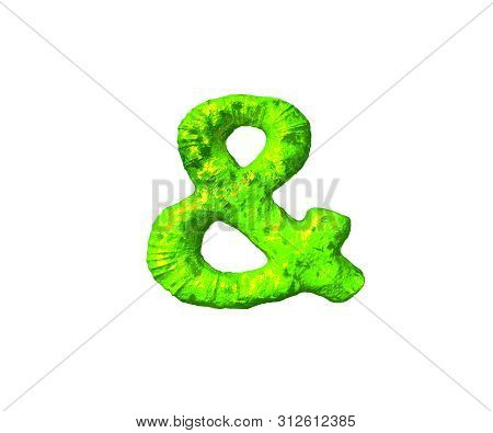 Green Jelly Alphabet - Ampersand In Monstrous Style Isolated On White Background, 3d Illustration Of