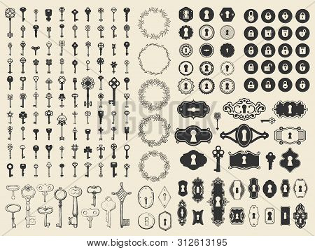 Vector Illustration With Design Elements For Decoration. Big Silhouettes And Icon Set Of Keys, Locks