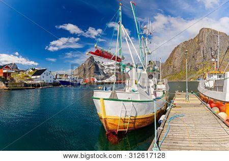 Fishing boats in harbor on Lofoten Islands, Hamony Village,  Norway, Lofoten Island