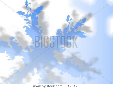 Abstract Blue Snow Flake With Shadow