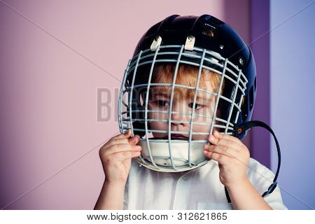 Sport Equipment. Hockey Or Rugby Helmet. Sport Childhood. Future Sport Star. Sport Upbringing And Ca