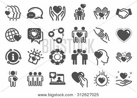 Friendship And Love Icons. Interaction, Mutual Understanding And Assistance Business. Trust Handshak