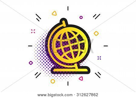 Globe Sign Icon. Halftone Dots Pattern. Geography Symbol. Globe On Stand For Studying. Classic Flat