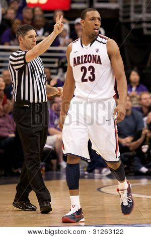 LOS ANGELES - MARCH 12: Arizona Wildcats F Derrick Williams #23 during the NCAA Pac-10 Tournament basketball championship game on March 12 2011 at Staples Center in Los Angeles, CA.
