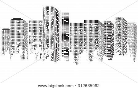 Abstract Futuristic City. Cityscape Buildings Made Up With Dots, Digital Transparent City Landscape.
