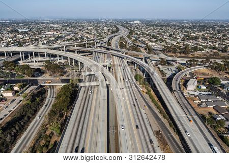 Aerial view of the 105 freeway at the 110 freeway south of downtown in Los Angeles, California.