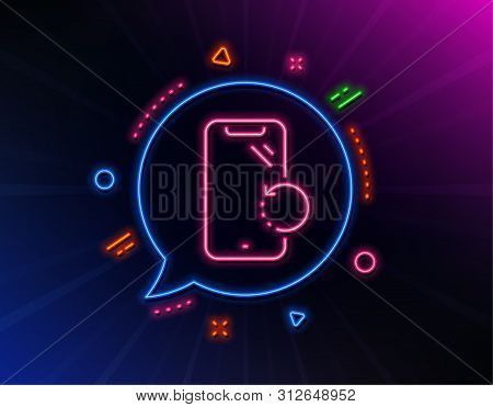 Smartphone Recovery Line Icon. Neon Laser Lights. Phone Backup Sign. Mobile Device Symbol. Glow Lase