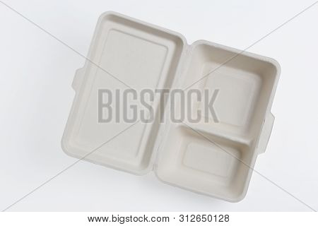 Top View Open Of Unbleached Plant Fiber Food Box Isolated On White With Clipping Path, Natural Fiber