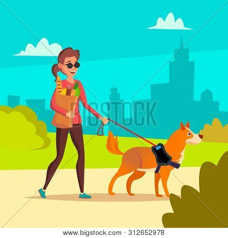 Blind Woman . Young Person With Pet Dog Helping Companion. Disability Socialization Concept. Blind Female And Guide Dog On Crosswalk. Character Illustration poster