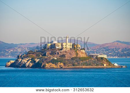 Alcatraz Prison Island In San Francisco Bay, Offshore From San Francisco, California, A Small Island
