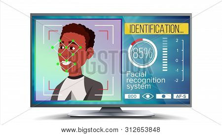 Face Recognition, Identification System . Face Recognition Technology. Afro American Face On Screen.