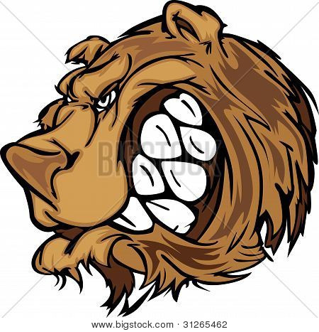 Cartoon Vector Mascot Image of a Black Bear Head poster