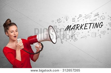Person holding megaphone and yelling business, management concept