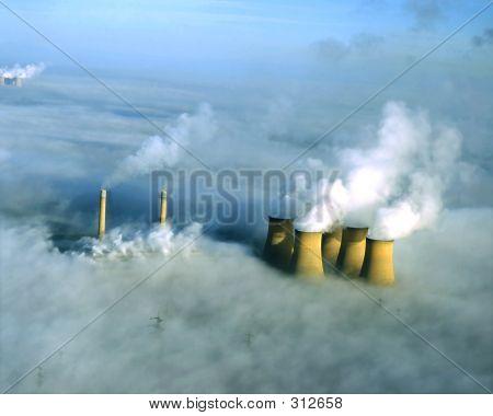 Power Station In Fog, Aerial.