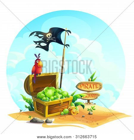 Chest With Emeralds And A Parrot On A Pile Of Sand Under The Clouds.vector Illustration Open Chest W