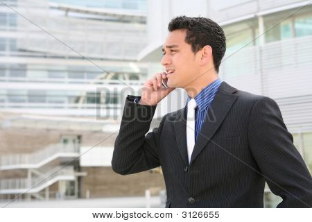 Hispanic Business Man On Cell Phone