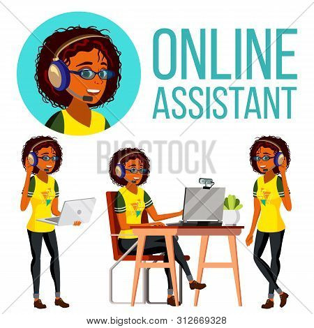 Online Assistant African Woman . Headphone, Headset. Call Center. Technical Support Illustration