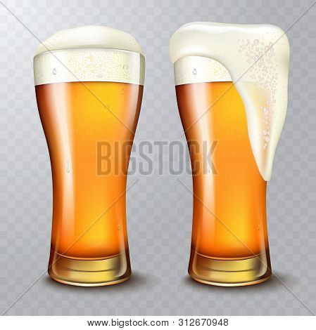 Wheat Beer Ads, Beer Glass With Attractive Beer, 3d Illustration On Transparent Background.
