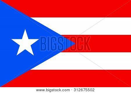 Flag Of Puerto Rico. Vector Illustration. World Flag