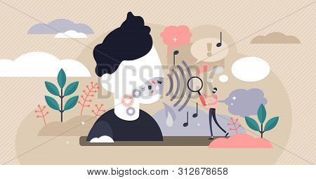 Phonetics Vector Illustration. Flat Tiny Linguistic Sounds Person Concept. Abstract Articulatory, Ac