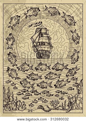 Fish. Mystic Concept For Lenormand Oracle Tarot Card. Vector Engraved Illustration. Fantasy Line Art