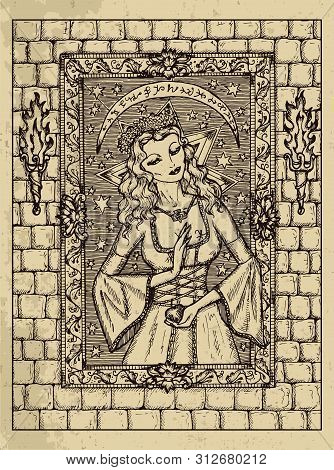 Woman. Mystic Concept For Lenormand Oracle Tarot Card. Vector Engraved Illustration. Fantasy Line Ar